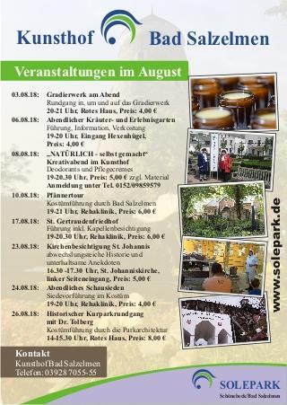 Monatsübersicht der Veranstaltungen im Kunsthof