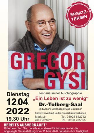 Ein Leben ist zu wenig - Lesung mit Gregor Gysi
